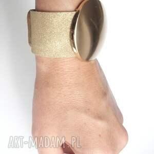 skóra bransoletki bransoleta skórzana złota tarcza