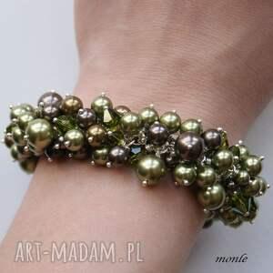 zielone bransoletki perły hedera, bransoletka z pereł