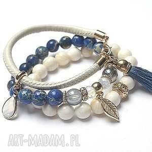eleganckie bransoletki muszla ivory and dark blue vol. 5