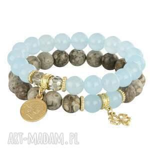 złote bransoletki jadeit jasmine 4 - blue, beige & smoky