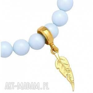 handmade bransoletka jasnoniebieska pereły