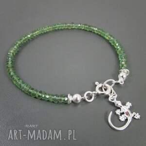 srebro jaszczurka z zielonym apatytem