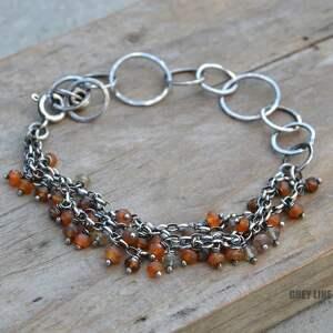 srebro bransoletki pomarańczowe jesienna kompozycja. karneol