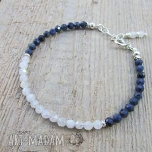 niebieskie bransoletka srebrna kamień księżycowy z szafirem
