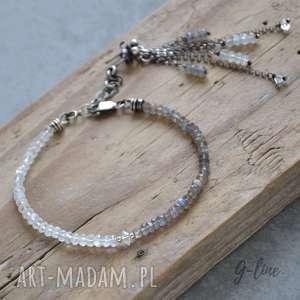 ręcznie wykonane bransoletki diament-z-herkimer kamień księżycowy, labradoryt
