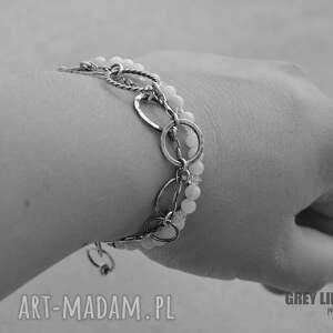 białe bransoletki srebro kamień księżycowy z diamentem