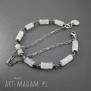 bransoletki srebro kamień księżycowy z łańcuszkiem -