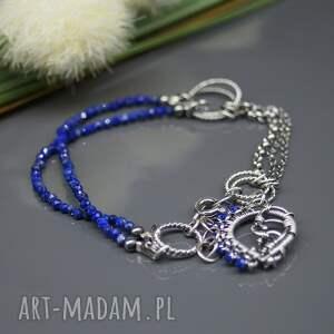 lapis lazuli delikatna, srebrna bransoletka wykonana
