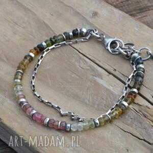 ręczne wykonanie bransoletki srebro kolorowy turmalin