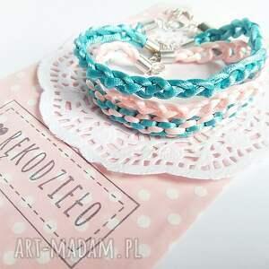 różowe bransoletki komplet 3 bransoletek - pastelowy