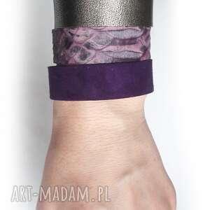 fioletowe bransoletki fiolet komplet trzech bransoletet skóra
