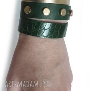 zielone bransoletki nity komplet trzech bransoletek