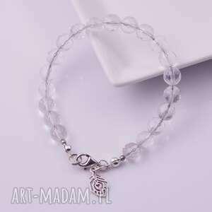 białe bransoletki górski kryształ górski-srebrna bransoletka