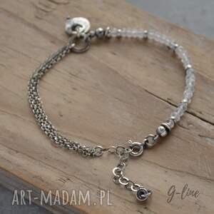 ręczne wykonanie bransoletki diament-z-herkimer kryształ górski. delikatna srebrna