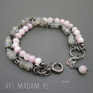 różowe bransoletki srebro kunzyt z labradorytem