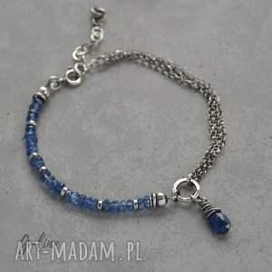 niebieskie bransoletki kianit kyanit. delikatna srebrna