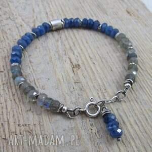 kyanit bransoletki niebieskie z labradorytem - bransoletka