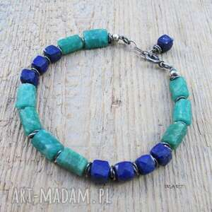 zielone lapis lazuli z amazonitem - surowa