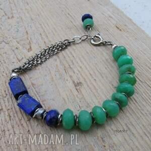 zielone bransoletka lapis lazuli z chryzoprazem