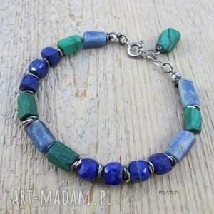 zielone srebro lapis lazuli z malachitem