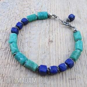 srebro lapis lazuli z amazonitem - surowa