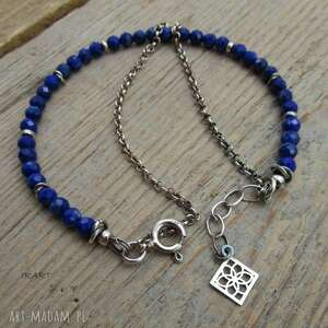srebro lapis lazuli - bransoletka
