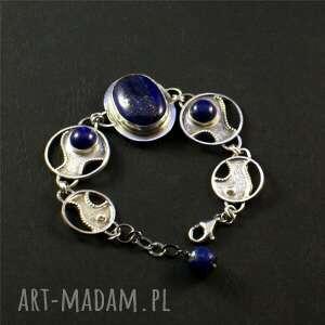 ręczne wykonanie bransoletki srebro lapis lazuri i kobaltowe niebo