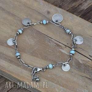 niebieskie bransoletki srebro larimar i srebrne pastylki