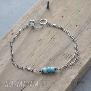 niebieskie bransoletki srebro larimar - klejnot karaibów. srebrna