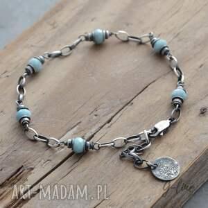 niebieskie larimar. srebrna bransoletka iii