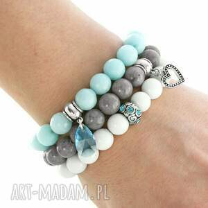 hand made bransoletki jadeit light blue, grey & white set
