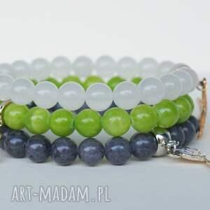 zielone bransoletki biżuteria limonkowy marmur ze złotą nutką