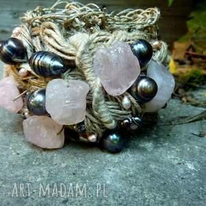 różowe leniana bransoletka lniana baransoletka z kwarcem