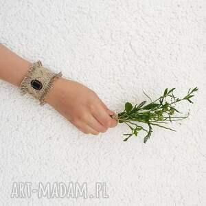 antyk maria - szeroka bransoletka lniana