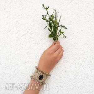 handmade koronka maria - szeroka bransoletka lniana