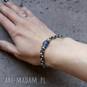 niebieskie bransoletki łańcuszkowa masywna bransoleta - srebro 925