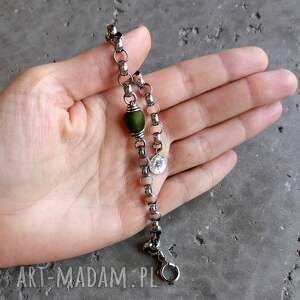 zielone bransoletki oliwkowa masywna bransoleta - srebro 925