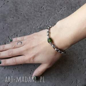 oliwkowa bransoletki masywna bransoleta - srebro 925