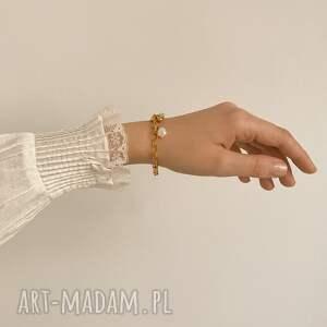 ręczne wykonanie bransoletki perła masywna bransoletka z różowego