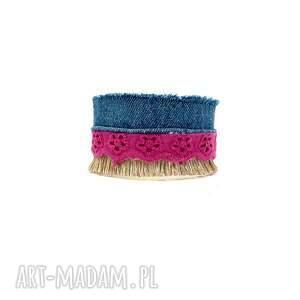 galeria nuit Milly - bransoletka z dżinsem - szeroka magenta
