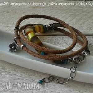 SZAROTKA miodowa bransoletka z bursztynu, turkusu, rzemienia i srebra - ręcznie z-bursztynami