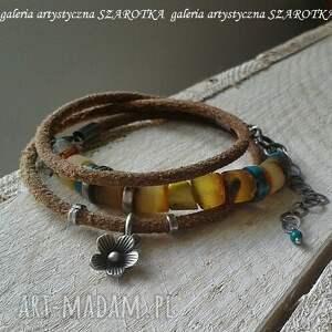 SZAROTKA miodowa bransoletka z bursztynu, turkusu, rzemienia i srebra - ręcznie z-rzemienia