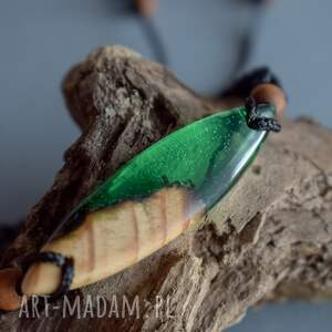 bransoletka unisex zielone mitali - z drewnem