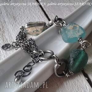 szkło antyczne zielone na surowo bransoletka ze szkła