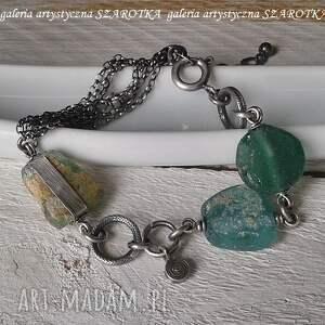 turkusowe szkło afgańskie na surowo bransoletka ze szkła