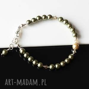 kryształki oliwkowa - bransoletka