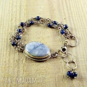 niebieskie srebro 925 opal i obłoki