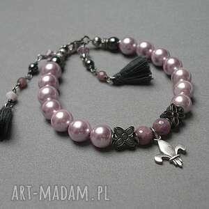 perły bransoletki różowe perłowa lilijka - bransoletka