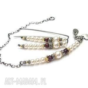 srebrne oksydowane perłowy patyczek - bransoletka