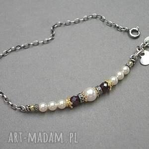 srebro białe perłowy patyczek - bransoletka